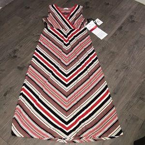 Calvin Klein Maxi. Red, grey, black, cream stripes